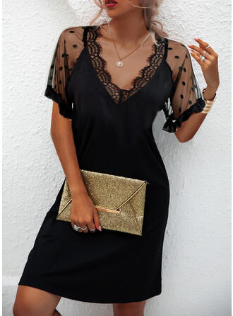 Solid Lace Short Sleeves Sheath Above Knee Little Black/Casual Dresses