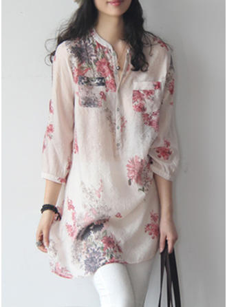 Polyester Lapel Floral 3/4 Sleeves Button Up Blouses