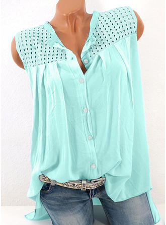 Cotton Plain Sleeveless Shirt Blouses