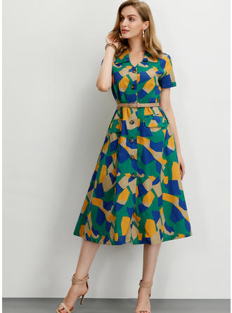 Nadrukowana/Nadruk geometryczny Krótkie rękawy W kształcie litery A Midi Casual/Elegancki Sukienki