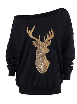 Animal Print Sequins One Shoulder Long Sleeves Christmas Sweatshirt
