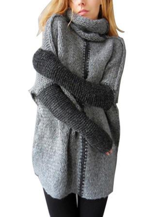 Polyester Turtleneck Color Block Sweater Dress