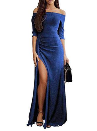 Jednolita Rękawy 1/2 Pokrowiec Maxi Przyjęcie/Elegancki Sukienki