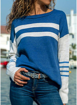 Striped Round Neck Long Sleeves Casual Blouses