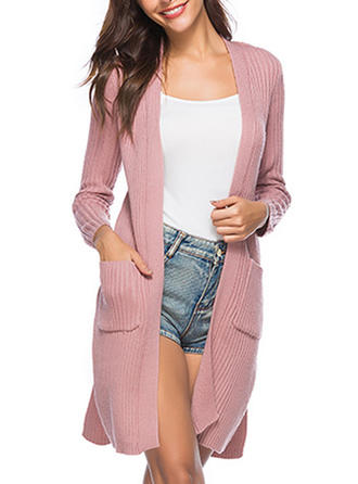 Polyester Knitting Long Sleeves Plain Slim Fit Coats