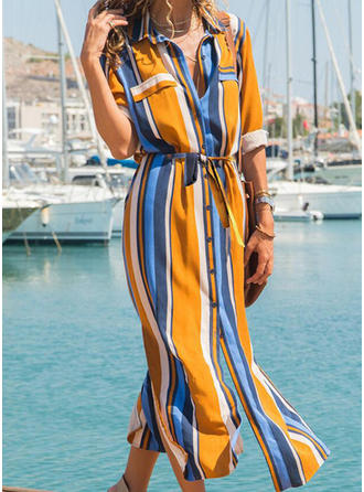 Color-block/Striped Long Sleeves A-line Midi Casual/Vacation Dresses