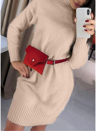 Solid Cable-knit Chunky knit Stand Collar Sweater Dress