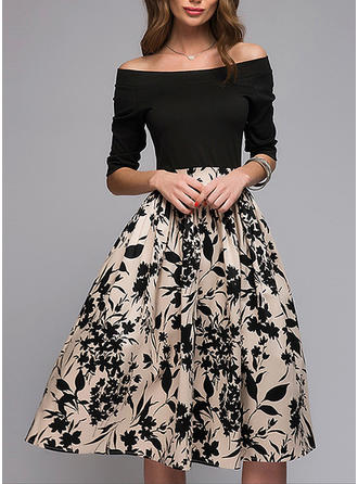 Wydrukować Kwiatowy Dekolt typu Carmen Midi Sukienka Trapezowa