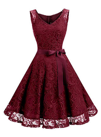 Lace Solid V-neck Knee Length A-line Dress