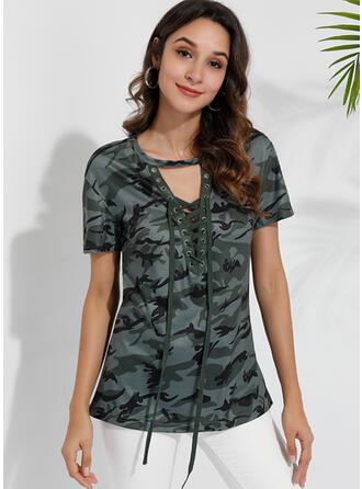 Imprimée Col V Manches Courtes Décontractée Sexy T-shirts