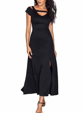 Solid Short Sleeves A-line Maxi Little Black/Party/Elegant Dresses