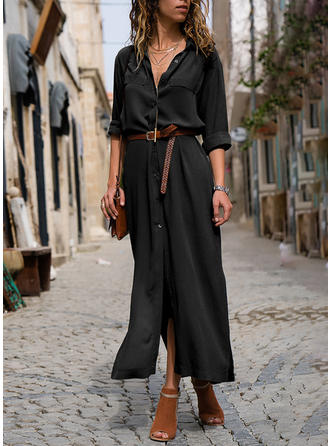 Solid Long Sleeves A-line Maxi Little Black Dresses