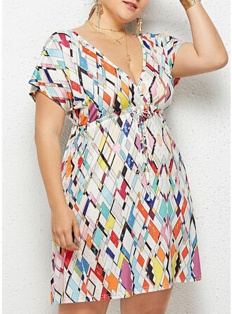 Print Short Sleeves A-line Above Knee Casual/Plus Size Dresses