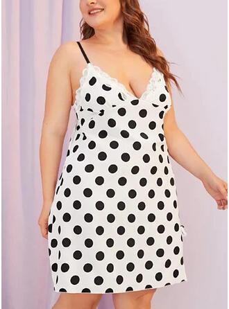 Lace/PolkaDot Sleeveless Sheath Knee Length Vacation/Plus Size Dresses