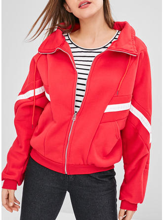 Polyester Long Sleeves Striped Jackets