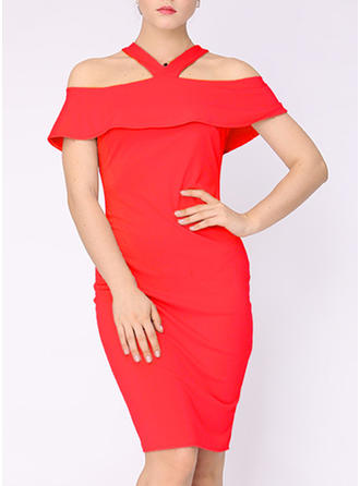 Solid Off-the-Shoulder Knee Length Bodycon Dress