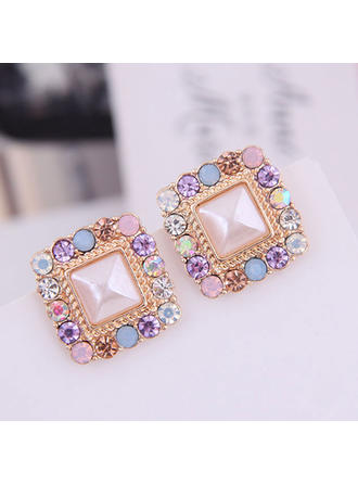 Square Alloy Rhinestones Women's Earrings