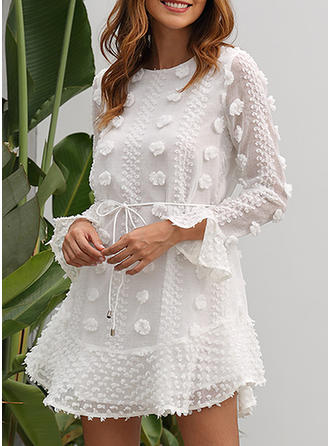 Lace/Solid Long Sleeves/Flare Sleeves Sheath Above Knee Casual/Elegant Dresses