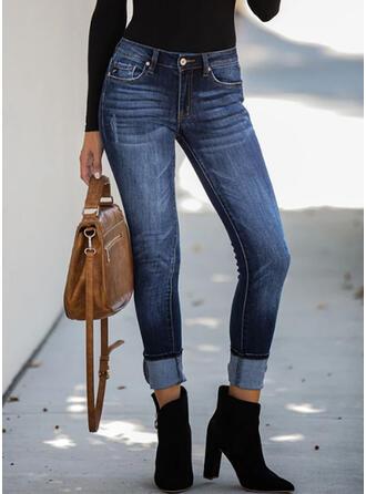 Kieszenie Marszczona Duży rozmiar Elegancki Seksowny Dżinsy