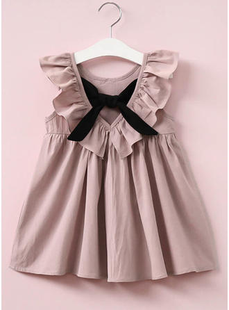 Girls Round Neck Solid Ruffles Casual Cute Dress