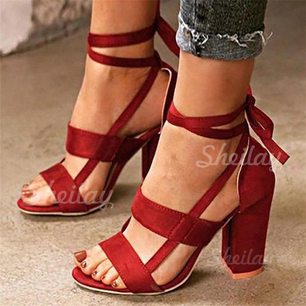Pentru Femei PU Toc gros Sandale cu Lace-up pantofi