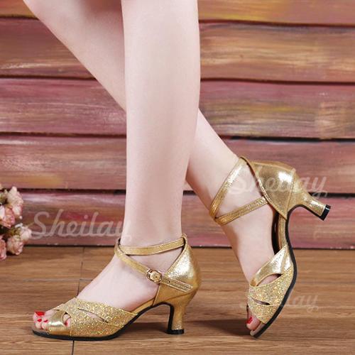 Donna Similpelle Glitter scintillanti Sandalo Latino con Listino alla caviglia Scarpe da ballo
