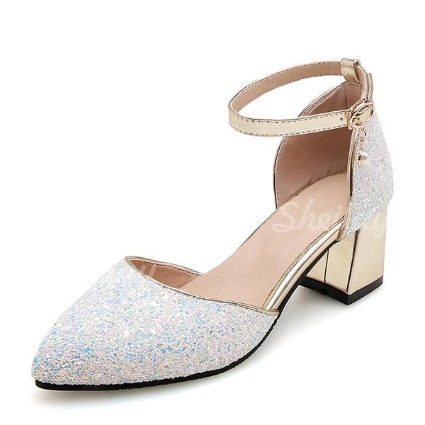 Donna Glitter scintillanti Tacco spesso Sandalo Stiletto con Strass scarpe