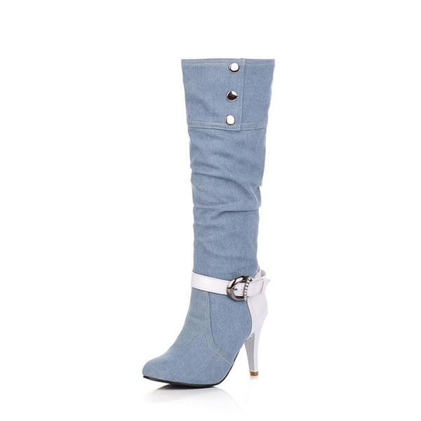 Шпилька Насоси Чоботи Черевики вище колін з Сіяючі камені Пряжка взуття