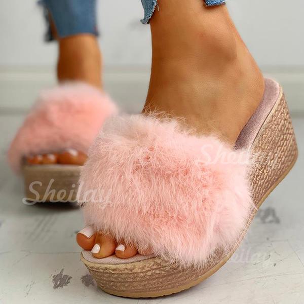 Pentru Femei Ţesătură Fară Toc Sandale Şlapi cu Blană pantofi