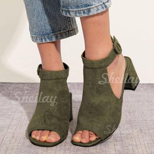 Pentru Femei Piele de Căprioară Toc gros Sandale Puţin decupat în faţă cu Cataramă pantofi