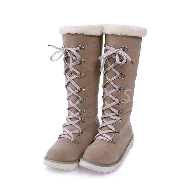 Жіночі Замша Низька підошва Чоботи Снігові чоботи з Зашнурувати взуття