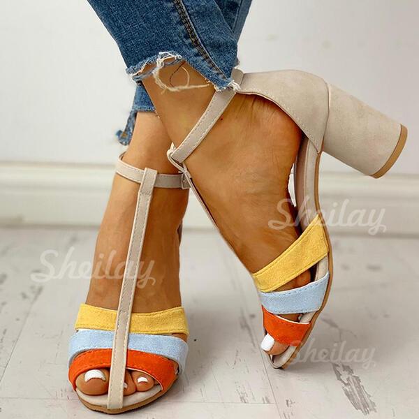 Pentru Femei PU Toc gros Încălţăminte cu Toc Înalt Puţin decupat în faţă cu Cataramă pantofi