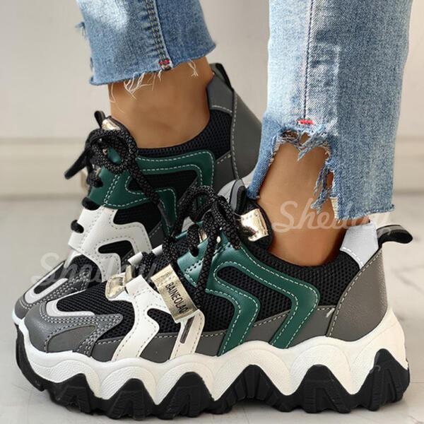 Pentru Femei Plasă PU Casual Afară Atletic cu Lace-up pantofi