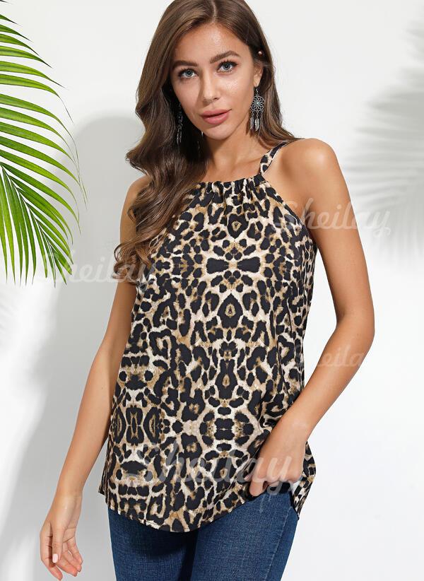 leopard Kulatý Výstřih Bez rukávů Neformální Părții superioare a tancurilor