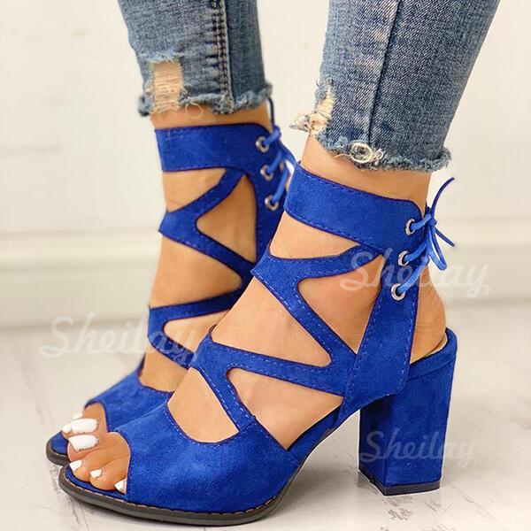 Pentru Femei Piele de Căprioară Toc gros Sandale Puţin decupat în faţă cu Lace-up pantofi