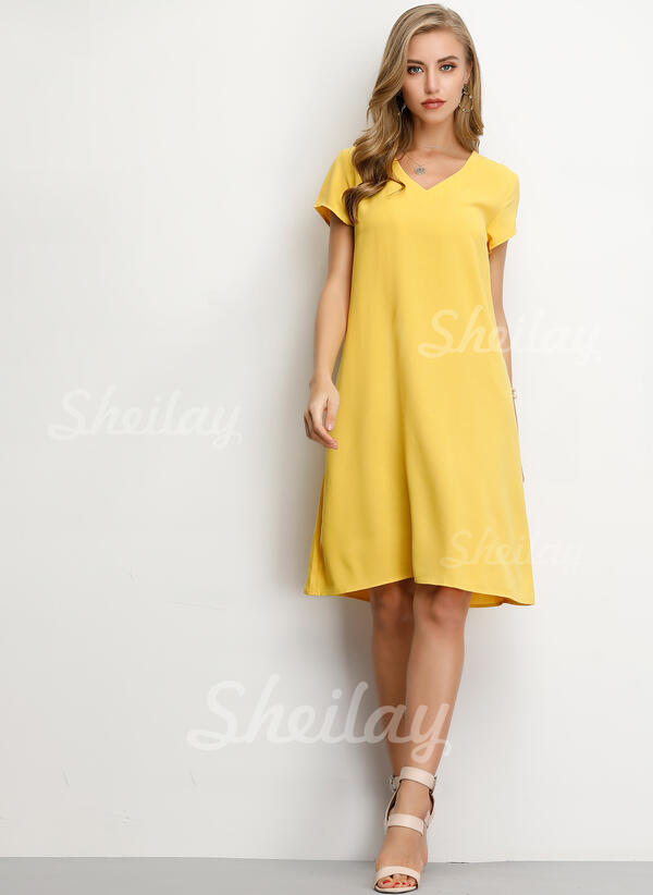 [US$ 14.99] Solid Short Sleeves Shift Knee Length Casual/Vacation Dresses ,  Sheilay
