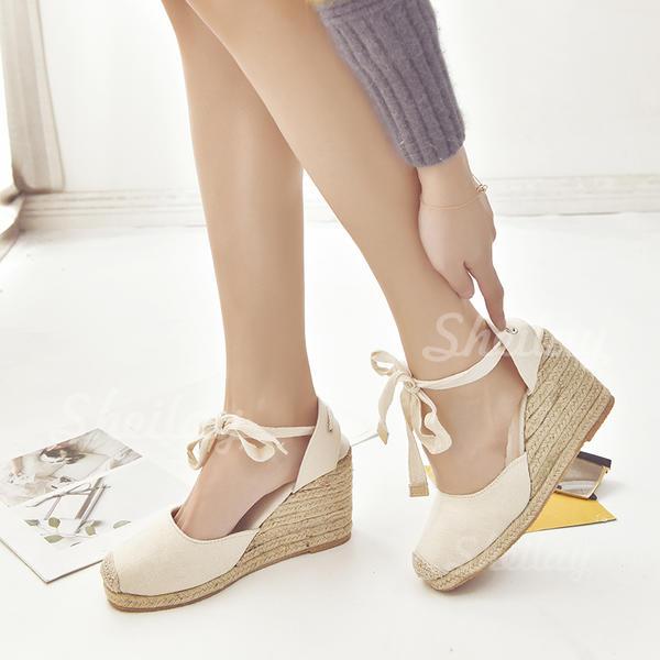 Naisten PU Wedge heel Kiilat jossa Nauhakenkä kengät