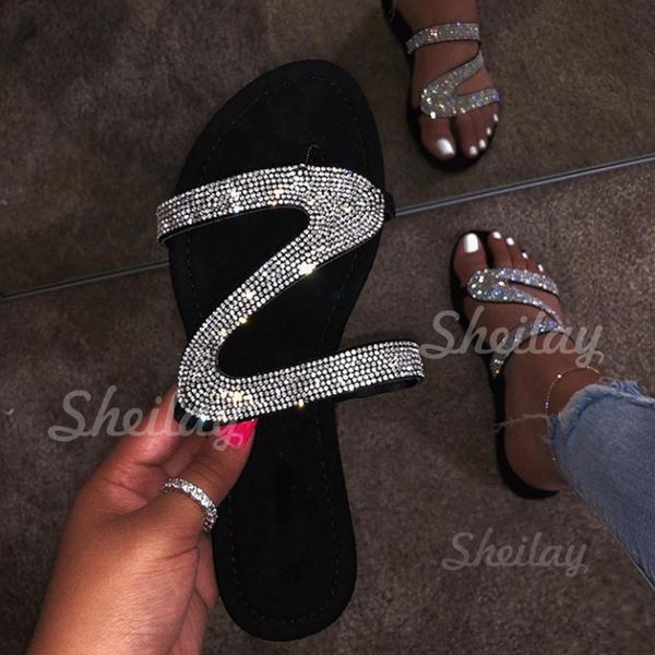 Pentru Femei PU Fară Toc Şlapi cu Paietă pantofi
