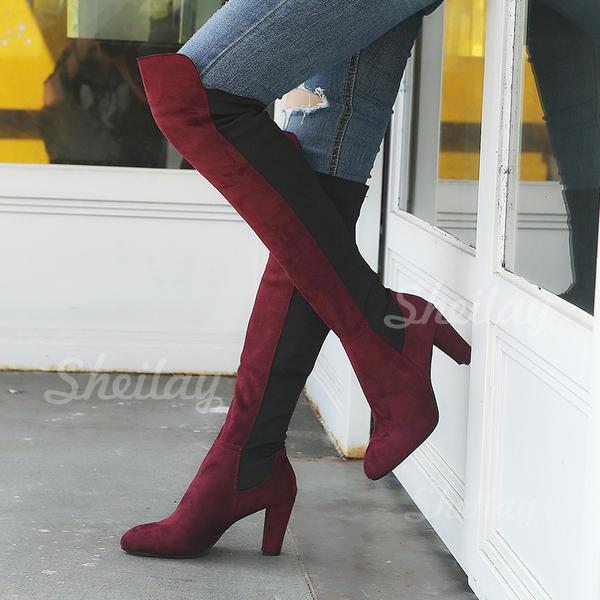 Pentru Femei PU Toc gros Gizme Peste Genunchi cu Fermoar pantofi