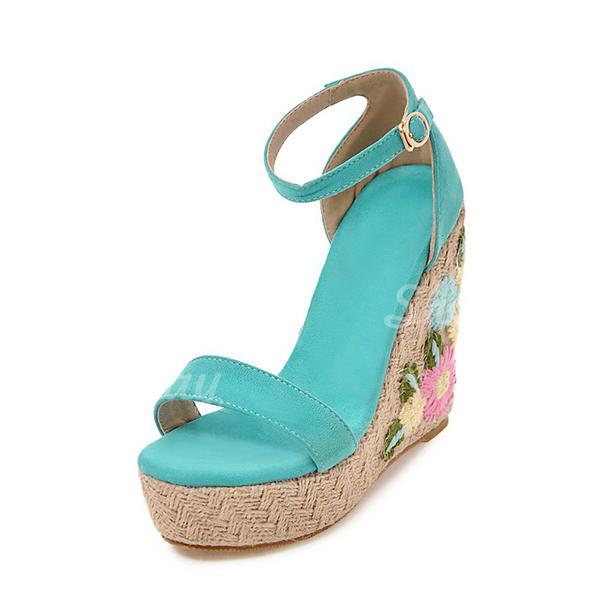 Donna Camoscio Zeppe Stiletto Zeppe con Fibbia scarpe