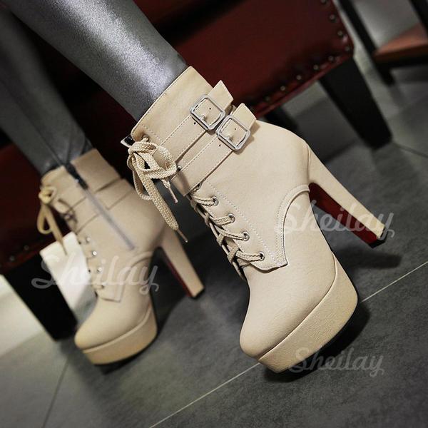 Donna PU Tacco spesso Stiletto Piattaforma Stivali altezza media con Cerniera Allacciato scarpe