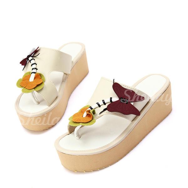 Női Műbőr Lapos sarok Szandál Lakások Ékelt szandál Peep Toe -Val Animal Print cipő