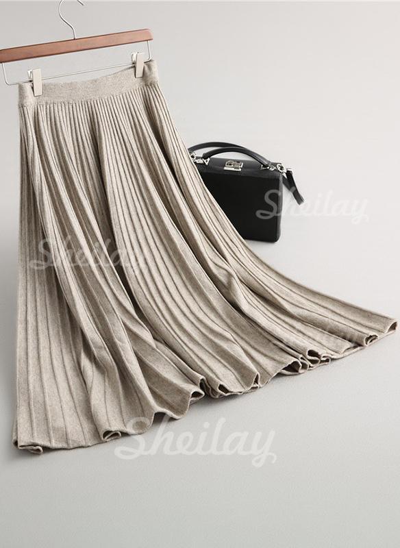 Tricotat Simplu Maxi Fustă Plisată