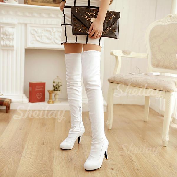 Жіночі ПУ Шпилька Насоси Платформа Чоботи Чоботи вище коліна з Блискавка взуття