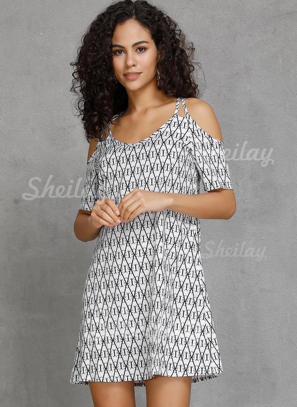 Geometric Print Cold Shoulder Sleeve A-line Above Knee Casual/Boho/Vacation Dresses