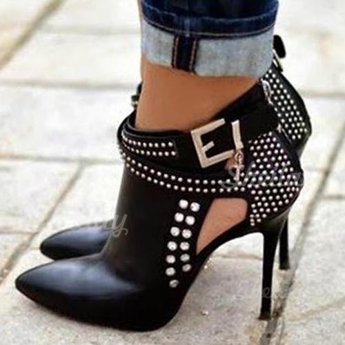 Donna PU Tacco a spillo Stiletto Stivali Stivali alla caviglia con Rivet Fibbia Cerniera scarpe