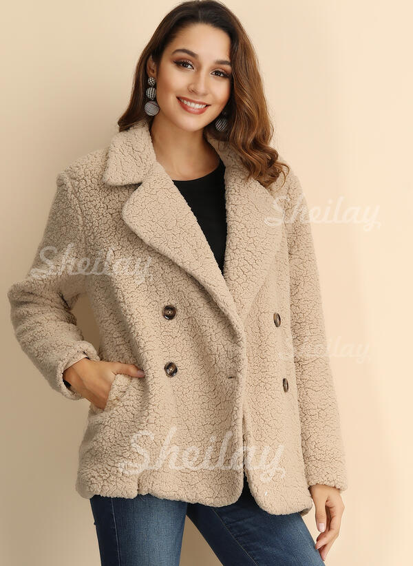 newest cc892 dd5a3 [US$ 21.99] Di lana Maniche lunghe Colore solido Cappotto di pelliccia  sintetica - Sheilay