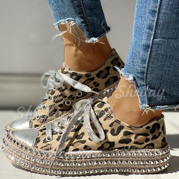 Pentru Femei Pânză Casual Afară cu Nit Lace-up pantofi