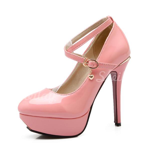 Donna Pelle verniciata Tacco a spillo Stiletto Piattaforma con Fibbia scarpe
