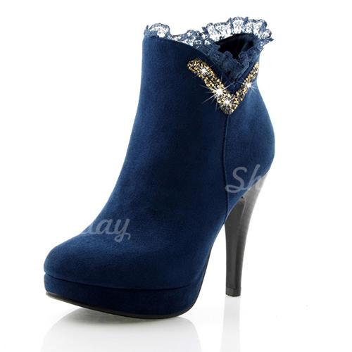 Donna Similpelle Tacco a spillo Stiletto Piattaforma Punta chiusa Stivali Stivali alla caviglia scarpe
